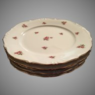 Set of 5 Bavaria Germany rose pattern dessert salad plates