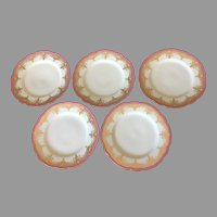 "Beautiful Antique French 19th century A. Hache & Pepin Lehalleur Vierzon Paris 8.5"" plates set of 5"