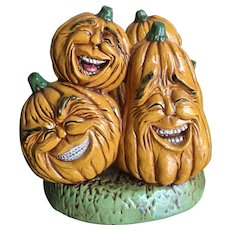Fall ceramic laughing pumpkins napkin holder