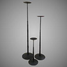 Rare Vintage Set Of Three Cast Iron Floor Pillar Candle Holders
