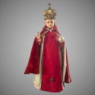 "Gorgeous 1932 Daprato Studios 25"" tall infant Jesus of Prague statue"