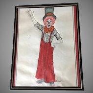 Beautiful watercolor Clown painting signed