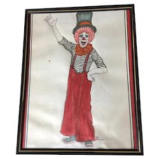 Beautiful watercolor Clown painting signed