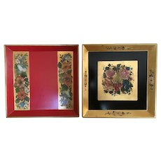 Pair of hand painted trays, wall plaques, by Nashco Products, chip and alcohol resistant