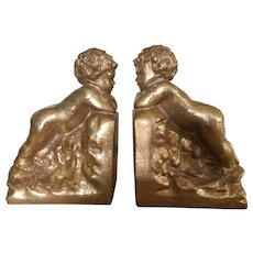 Gold gilt cherub bookends pair