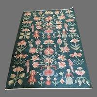 Handmade pictorial natural wool or jute reversible area rug