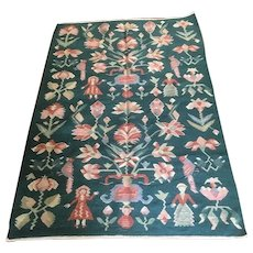 Handmade pictorial wool jute reversible area rug