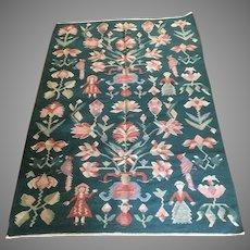 Handmade pictorial wool jute reversible area rug