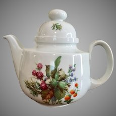 Decors De Paris made in France teapot with domed lid and handpainted flowers, mushrooms, berries, nuts, pine cones