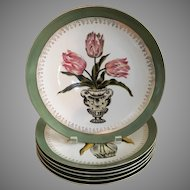 Floral 10.5'' plates with green border and gold scrolls set of six