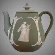 Gorgeous sage green jasper ware teapot