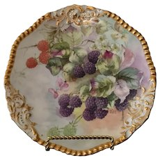"Limoges France Tressemanes & Vogt 8.5"" plate with hand painted Blackberries and gold encrusted edge (1882-1919)"