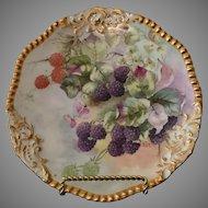 T&V Limoges France Still Life Blackberry Plate