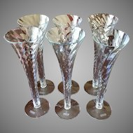 Mouth blown in Romania trumpet champagne flutes set of six vintage