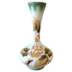 Gorgeous white glass long neck flower vase with hand painted water lilies 12'' tall