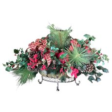 Very large and heavy wrought iron basket Christmas table centerpiece