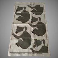 Patricia Hines Australia vintage Koala dish towel sewn and silkscreen printed by hand in western Australia