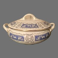 Coalport England  Reverly blue gold vegetable covered bowl