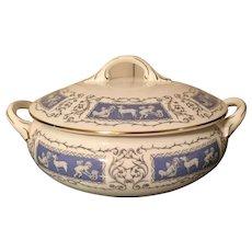 Coalport England  Reverly blue gold vegetable covered bowl