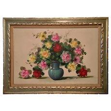 Large oil painting roses in blue vase framed by Anco Bilt, signed
