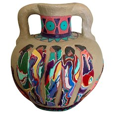 Rare large Mexican folks art hand made and had painted pottery Amphora vase