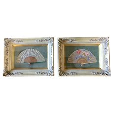 Gorgeous pair of Asian Japanese fans framed art