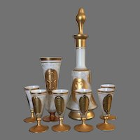 1960's Imperlux Bohemia Liquor Decanter With Stopper, 6 footed cordial glasses and bud vase, set of 8