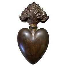 Antique French Empire Bronze Ex Voto Devotional Sacred Heart