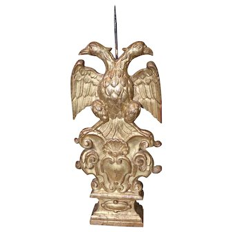 18th Century Candleholder Austro Hungarian  Double Headed Eagle Carved Giltwood