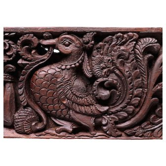 17th Century English Oak Wall Panel  Carved Wood Birds