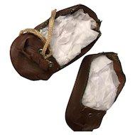 """Vintage 3"""" Brown Doll Shoes Oilcloth Fringe"""