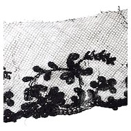 """Antique French Black Lace Silk Cotton Victorian Sewing Doll Costume Per 1 Yards x 2"""""""