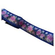 "Antique French Dolls Silk Blue Ribbon Trim Cobalt Floral 1"" Sewing Trims 40"""