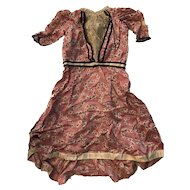 Antique Doll Silk Bustle Dress Victorian French Lace Trim Handmade Pink Red