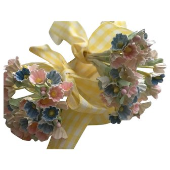 Vintage Doll Flowers Millinery Bouquets Yellow Gingham Sewing Tape Ribbon