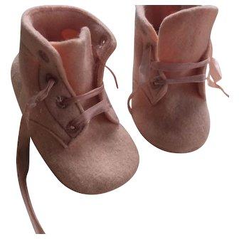 Vintage Doll Shoes Pink Felt Handmade Primitive Baby Teddy Bear Prim