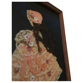 Vintage Ribbon Work Doll  Picture Art Paper Pink Hair Shabby Girl Ruffles Lace