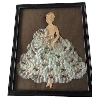 Vintage Ribbon Doll Picture Art Paper Blue Ribbonwork Shabby Ruffles Lace