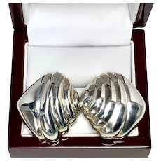 Tiffany and Co. Earrings, Vintage Sterling Silver Shell Style Clip on Earrings by Tiffany & Co.