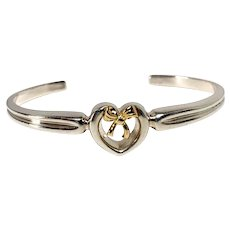Vintage Tiffany & Co. Sterling Silver and 18K Cuff Bracelet with Heart