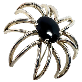 Vintage Tiffany Sterling and Onyx Large Brooch, Tiffany & Co. Fireworks collection
