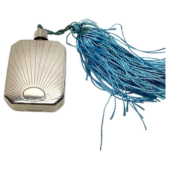 Tiffany & Co. Vintage Sterling Perfume Bottle, Small purse size perfume vial with tassel