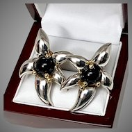 Tiffany and Co. Sterling and 18 K gold and Onyx Earrings
