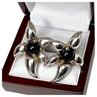 Tiffany and Co. Sterling and 18 K gold with Onyx Earrings, Vintage Tiffany Fireworks Collection