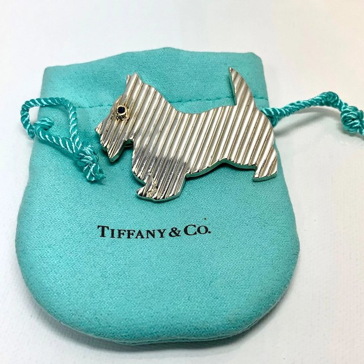 7fb294a9c72ee Tiffany & Co. Sterling and 18K Scottie Dog Brooch with Sapphire eye