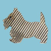 Tiffany & Co. Sterling and 18K Scottie Dog Brooch with Sapphire eye