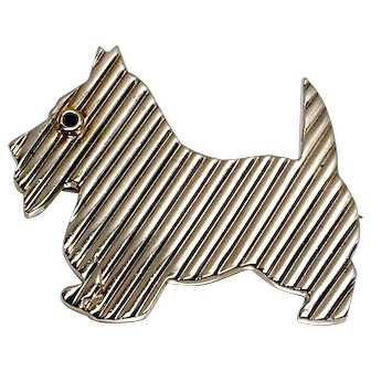 Tiffany & Co. Sterling Scottie Dog Brooch with Sapphire eye and 18K accents, Vintage Dog Brooch