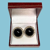 Tiffany & Co. Sterling Silver and Onyx Stud Earrings, pierced earrings