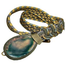 Alex and Lee Love and Peace Macrame Belt with Agate Buckle