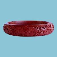 Red Cinnabar Bracelet, Vintage Carved Asian Cinnabar Bangle Bracelet with Dragon Motif, stacking bangles